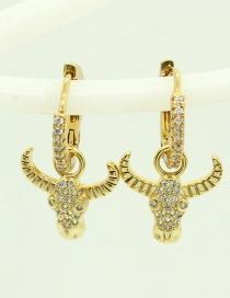 Fashion Bull Head Gold-plated Copper Earrings With Diamond Animal Bull Head