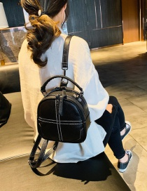 Fashion Black Soft Pu Stitching Stitching Multi-purpose Single Shoulder Messenger Backpack