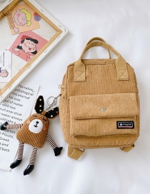 Fashion Yellow Belt Pendant Corduroy Solid Color Lettermark Kids Backpack