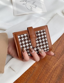 Fashion Brown Houndstooth Stitching Contrast Color Wallet