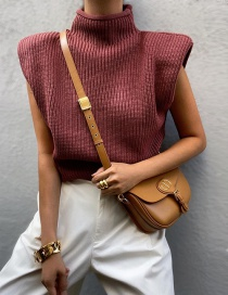 Fashion Brick Red Stand-up Collar Solid Color Shoulder Pad Knit Top