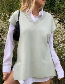 Fashion Light Green V-neck Solid Color Split Knit Vest