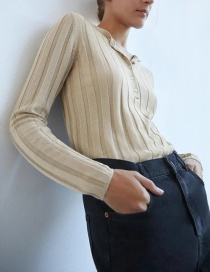 Fashion Beige Round Neck Single-breasted Solid Color Ribbed Sweater