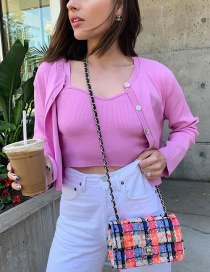 Fashion Pink Round Neck Single-breasted Solid Color Knitted Cardigan