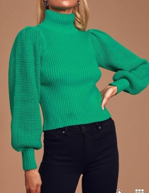 Fashion Green Stand-up Collar Solid Color Puff Sleeve Knitted Sweater