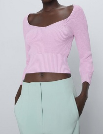 Fashion Pink V-neck Solid Wool Knit Sweater