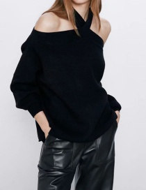 Fashion Black Cross Solid Color Strapless Loose Knit Sweater