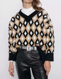 Fashion Color V-neck Color Block Diamond Knitted Sweater