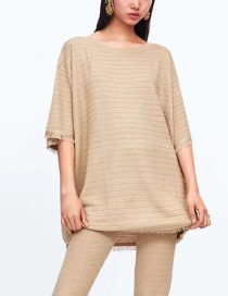 Fashion Camel Loose Crew Neck Sweater With Fringed Fringe