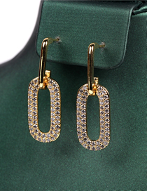 Fashion Golden Gold-plated Copper Earrings With Diamond Lock