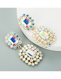 Fashion Ab Color Geometric Hollow Alloy Inlaid Glass Diamond Earrings