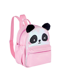 Fashion Pink Panda Sequin Pu Childrens Backpack