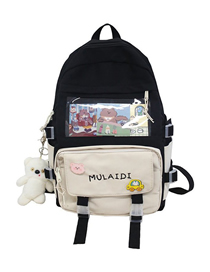 Fashion Black Send Plush Pendant Transparent Letter Embroidery Contrast Stitching Backpack