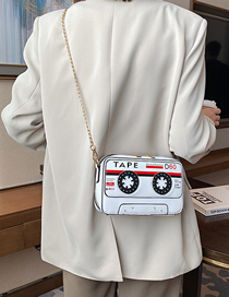 Fashion White Tape Cassette Chain Shoulder Messenger Bag