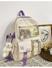 Fashion White Send Bear Pendant Mesh Panelling Backpack