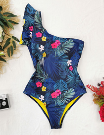 Fashion Dark Green Yellow Lining Leaf Print One-shoulder Ruffle Print One-piece Swimsuit
