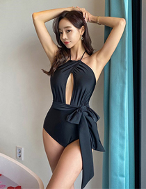 Fashion Black Small Chest Open Back Strappy One-piece Swimsuit