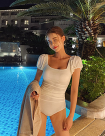 Fashion White Small Chest Gathered Short Sleeve Square Neck One-piece Swimsuit