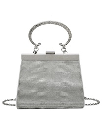 Fashion Silver Color Geometric Diagonal Shoulder Bag With Diamond Chain