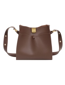 Fashion Brown Large-capacity Stitching Crossbody Shoulder Bag