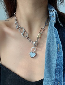 Fashion Silver Thick Chain Shell Love Alloy Necklace