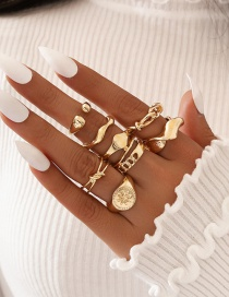 Fashion Golden Knotted Eight Pointed Star Ring Set