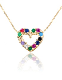 Fashion Gold-plated Zirconium Gold-plated Copper Heart Pendant Necklace With Zircon