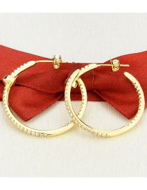 Fashion Gilded Diamond Round Imitation Nails Copper And Gold-plated Earrings
