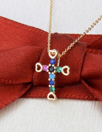 Fashion Gold-plated Color Zirconium Cross Gold-plated Hollow Heart Copper Pendant Necklace