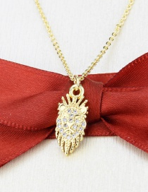 Fashion Gilded Gold-plated And Zircon Lion Head Pendant Necklace