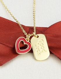 Fashion Gilded Flat Square Lucky Tag Gold-plated Oil Drop Love Heart Pendant Necklace