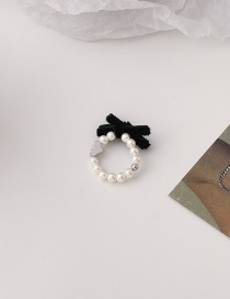 Fashion Ring Type Velvet Bow Pearl Necklace Ring