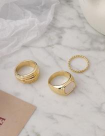 Fashion White Fine Thread Square Alloy Geometric Ring Set