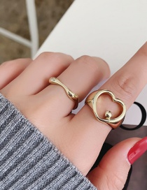 Fashion Gold Color Metal Hollow Heart Copper Gold-plated Ring Set
