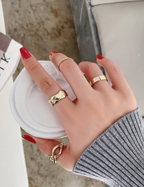 Fashion Gold Color 4-piece Wavy Cross Geometry Alloy Ring