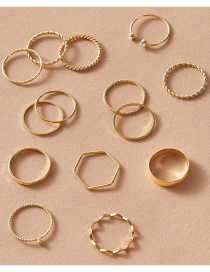Fashion Gold Color 14-piece Fine Circle Twist Wave Alloy Ring