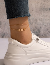 Fashion Gold Color Sequined Alloy Double Anklet
