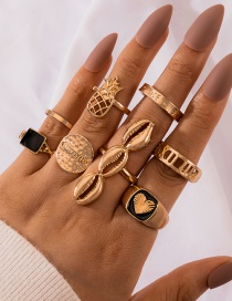 Fashion Gold Color 8-piece Set Of Dripping Love Pineapple Shell Geometric Ring