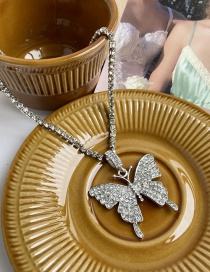Fashion Gold Color Diamond Large Butterfly Alloy Necklace