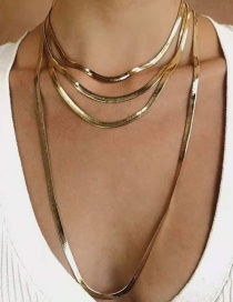 Fashion Gold Color Alloy Snake Bone Chain Multilayer Necklace