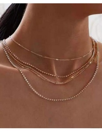 Fashion Gold Color Alloy Chain Multilayer Necklace