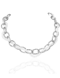 Fashion Silver Color Alloy Double Pearl Thick Chain Necklace
