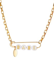 Fashion White Resin Letter Alloy Pin Necklace