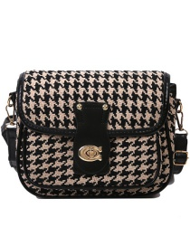 Fashion Khaki Houndstooth Lock Crossbody Shoulder Bag