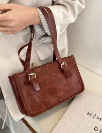 Fashion Brown Oil Wax Leather Belt Buckle One-shoulder Armpit Bag