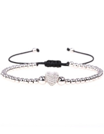 Fashion Silver Color Diamond Heart Adjustable Copper Plated Real Gold Round Bead Bracelet