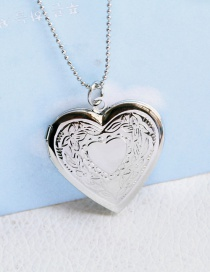Fashion Silver Color Painting Oil Version Printed Love Photo Box Pendant Necklace