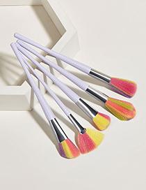 Fashion Small Waist 5 White Handle Aluminum Tube Nylon Hair Makeup Brushes