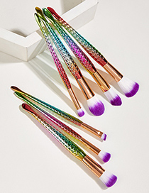 Fashion Colorful 7 Mermaid Cosmetic Brushes With Aluminum Tube And Nylon Hair