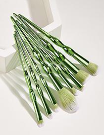 Fashion Green 8 Calabash Plastic Handle Aluminum Tube Nylon Hair Makeup Brushes